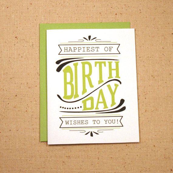 Happy Birthday Wishes Typography Birthday Card On Etsy