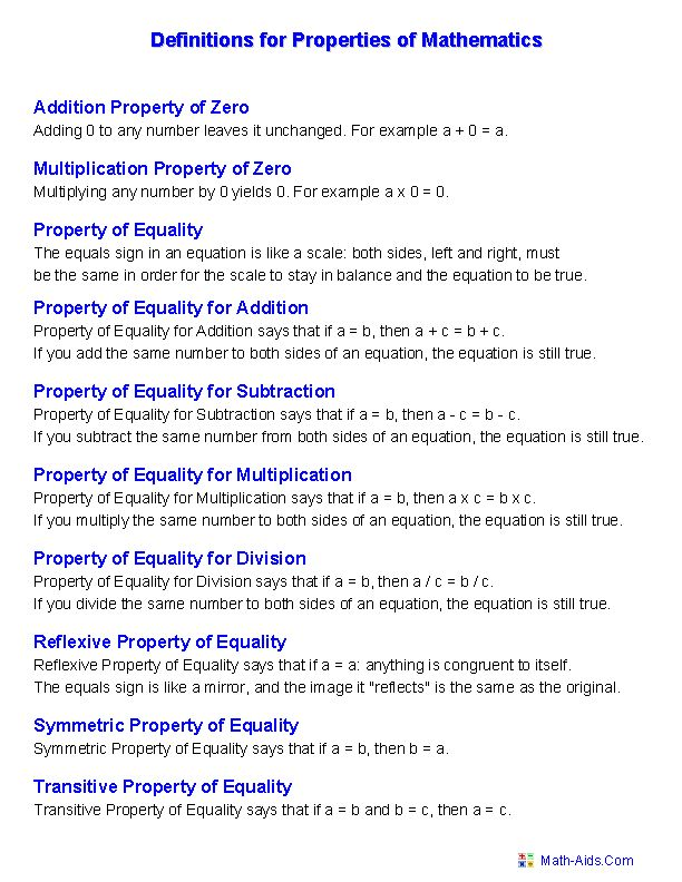 Definition for Properties of Mathematics Worksheets