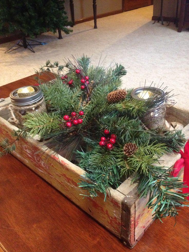 Rustic Christmas coffee table decor. My Creations