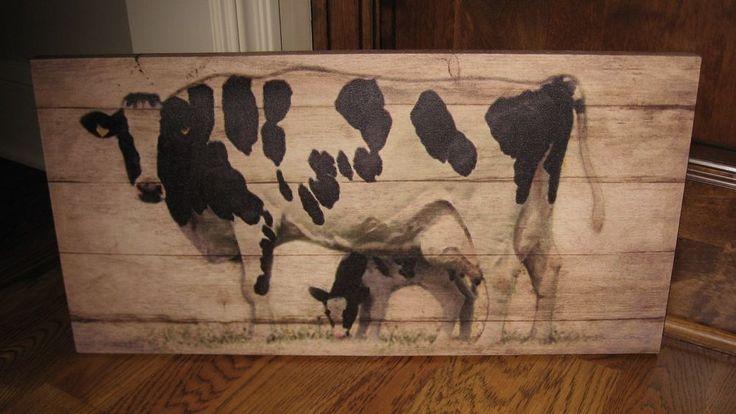 Black COW & CALF CANVAS Wall PICTURE*Farmhouse Primitive