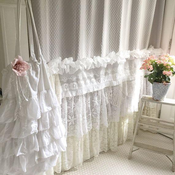 Bohemian Lace Ruffle Shower Curtain Shabby Chic Style