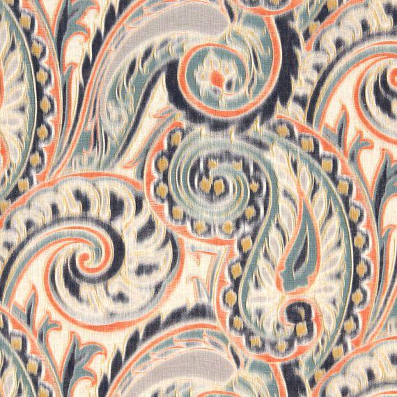 Navy Orange Linen Paisley Fabric Contemporary Paisley Curtain Navy Orange Home Decor Aqua
