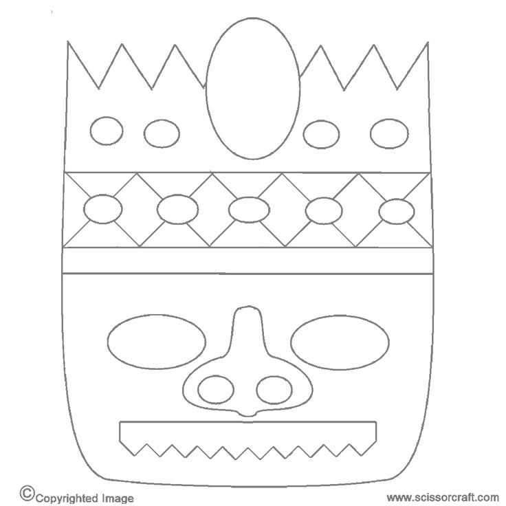 tiki mask coloring luau pinterest tiki mask masks and coloring