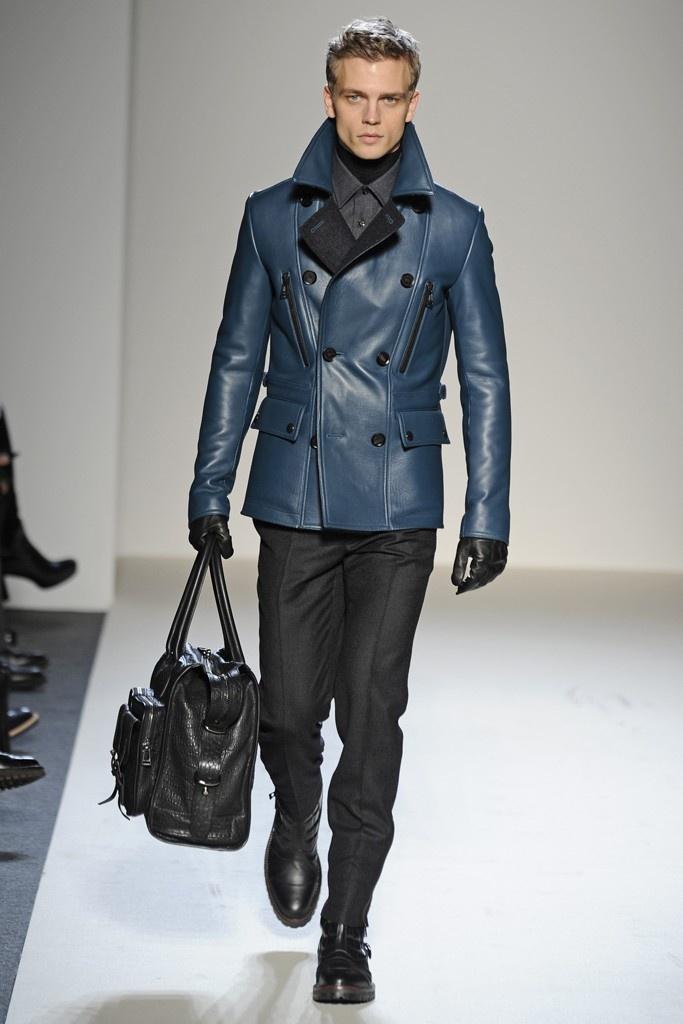 Mens Blue Leather Jacket Spring Runway 2013 My