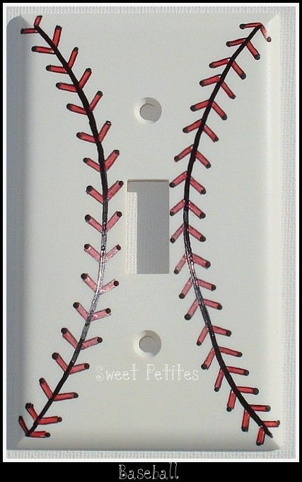 Hand Painted Switch Plate Cover Baseball by SweetPetitesBoutique, $19.95