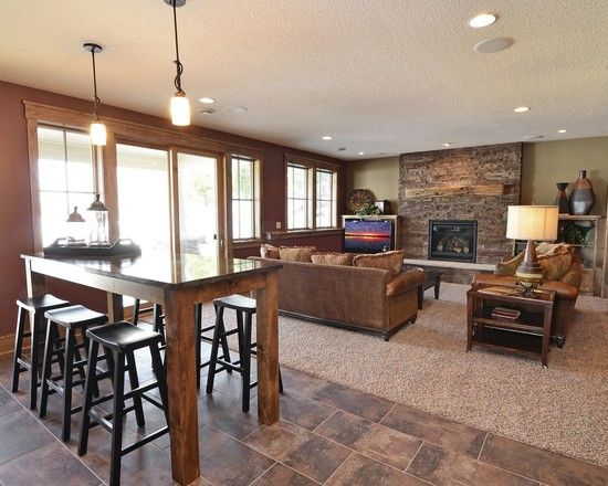 Basement Kitchen Island Bar Seating Design, Pictures