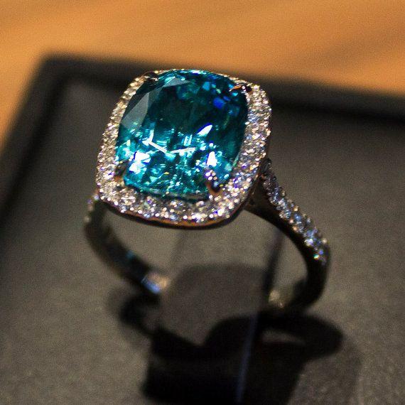 75ct Blue Zircon Cushion Cut Ring With Pave Diamond Halo