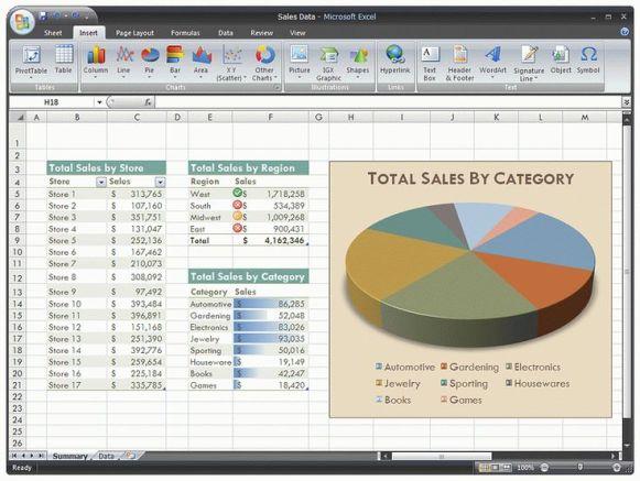Microsoft Excel 2007 Captures d'écran