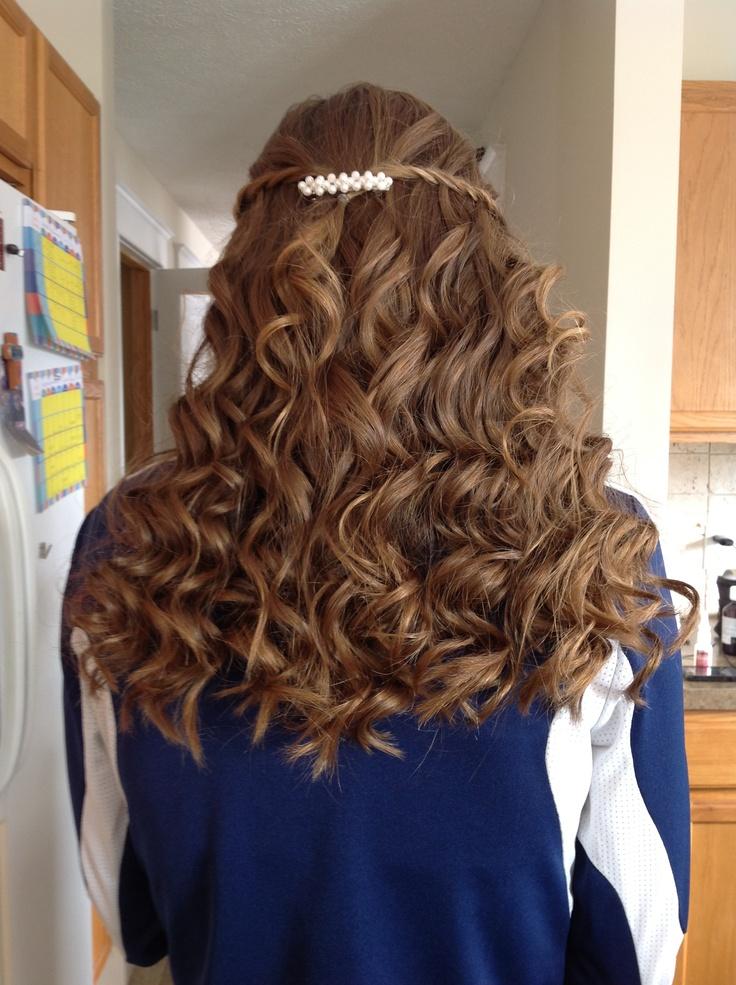 Waterfall braid curly hair Bat mitzvah Pinterest