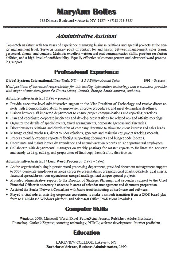 Administrative Assistant Resume Example Business