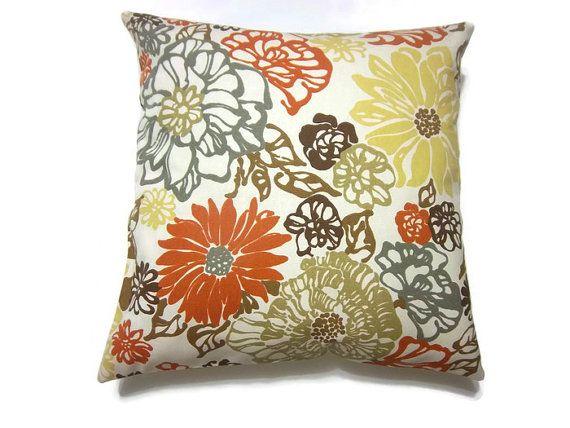 Decorative Pillow Cover Orange Tangerine Olive Green