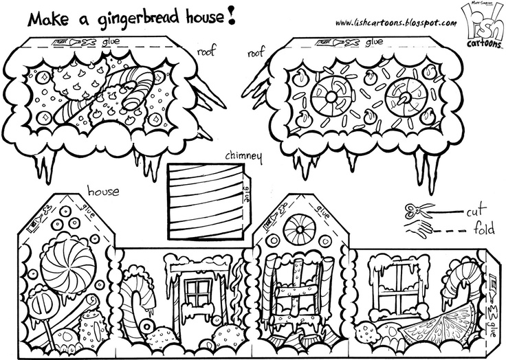 Gingerbread House to Color, Cut Out & Assemble fun stuff