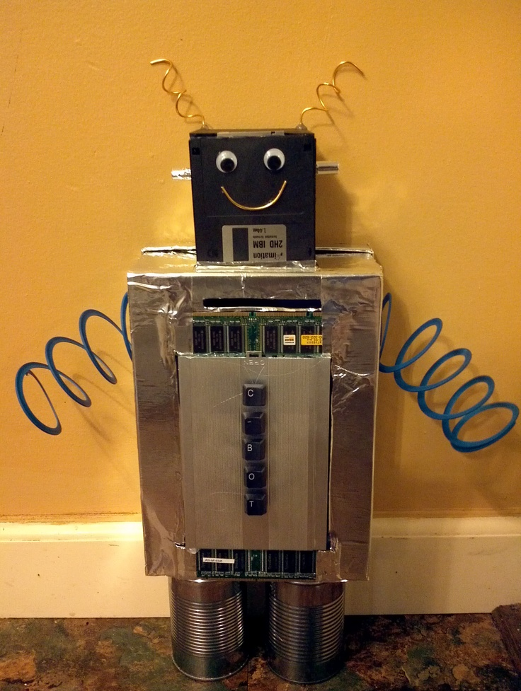 Robot Valentine Box Silver Metal Tape Leftover Computer Parts A Broken Slinky And A Lot Of