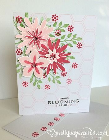 features Stampin Ups Flower Patch stamp set and coordinating Flower Fair framelits; Pretty Paper Cards