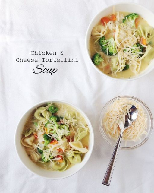 Chicken and cheese tortellini soup