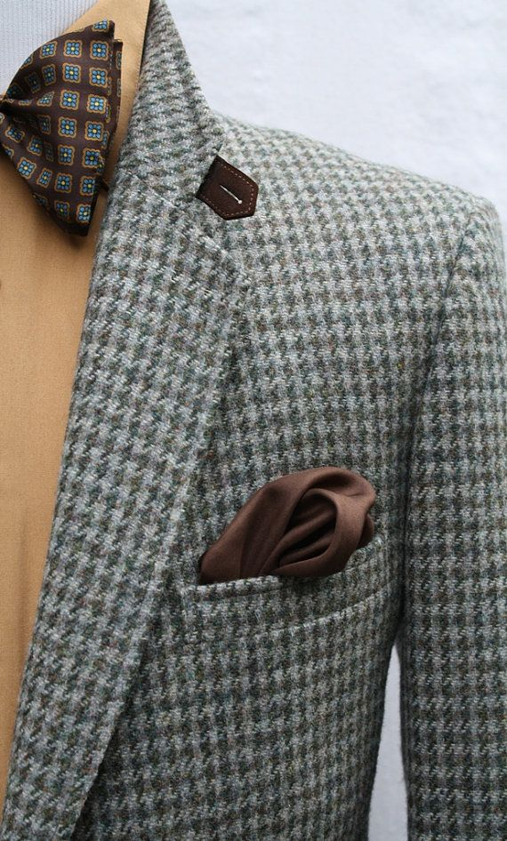 Mens Vintage Pure Wool Houndstooth Sport Coat by
