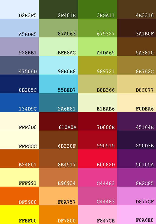 Color Groups W Hex Codes Jewelry Color Group Ideas