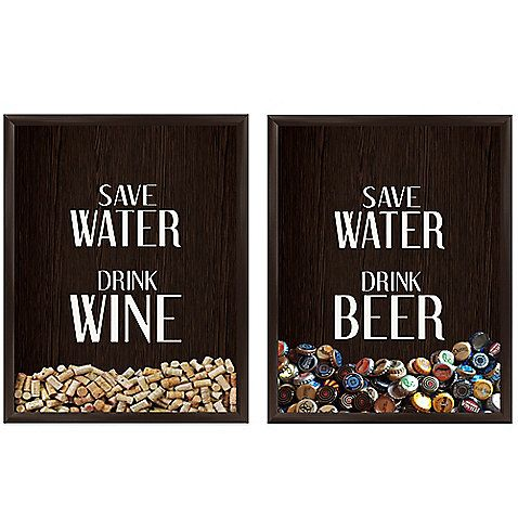 """Save your corks or bottle-caps with these playful and distinctive Graphic Wall Art pieces. Save Water Drink Wine and """"Save Water"""