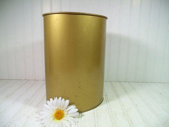 Vintage Petite Brass Metal Waste Can