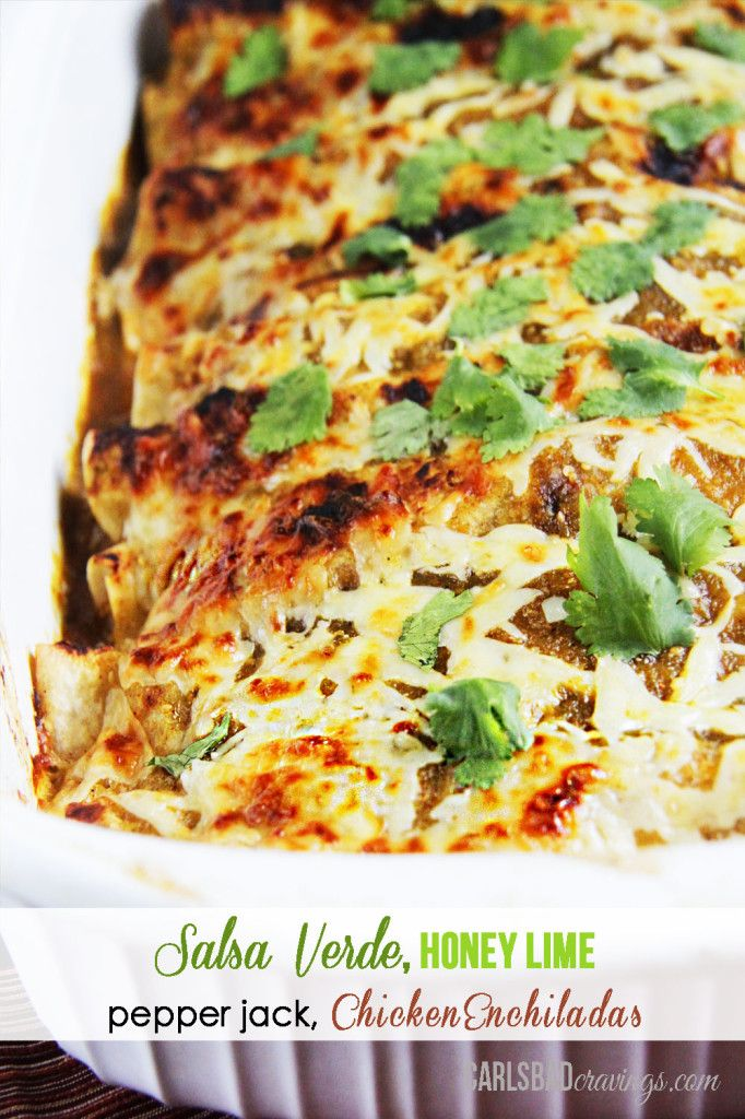 HUSBAND'S FAVORITE RECIPE EVER! Salsa Verde Honey Lime Pepper Jack Chicken Enchiladas – dripping with flavor and so fast and easy!