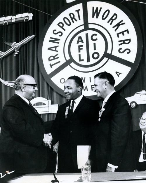 Mike Quill shaking the hand of Martin Luther King at a
