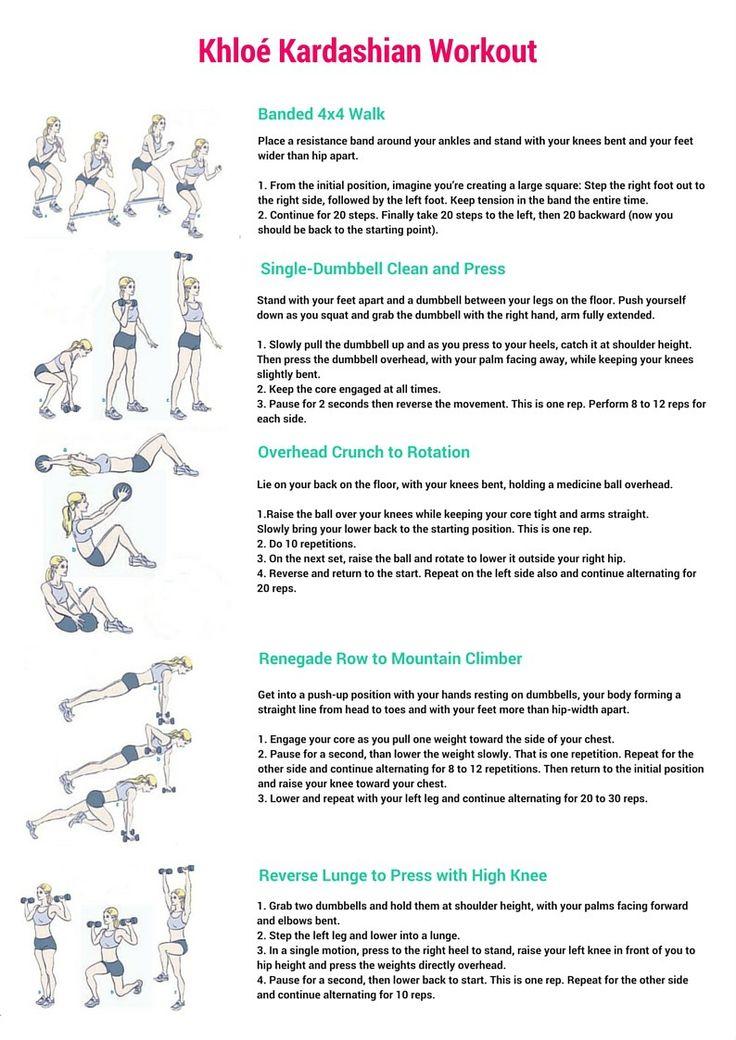 Khloé Kardashian Workout + Free Printable Workout, Khloe