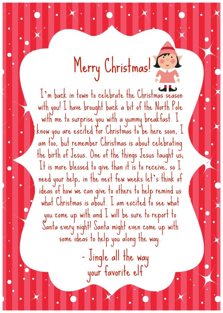 Elf on the shelf back letter. North Pole Breakfast