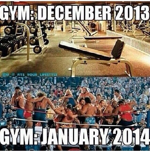 gym memes and New Years. comparing the gym to the WWF