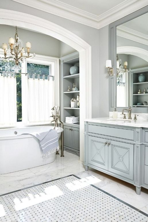 stunning powder blue/grey bathroom, painted vanity, joinery details, marble tiles, lights.: