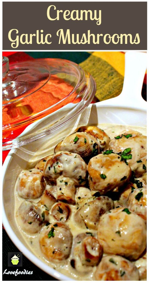 Creamy Garlic Mushrooms. This is a very quick, easy and delicious recipe, perfect as a side, serve on toast for brunch, or add to some lovely pasta!: