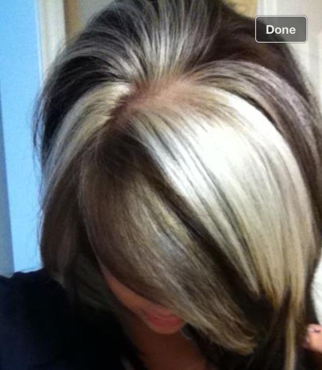 Brown Hair Dramatic Blonde Highlights Chunky