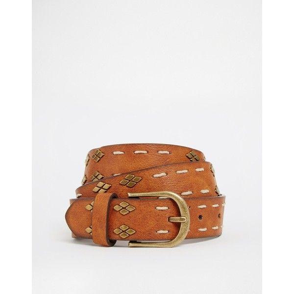 ASOS Studded Vintage Tan Waist And Hip Belt (€16) found on Polyvore
