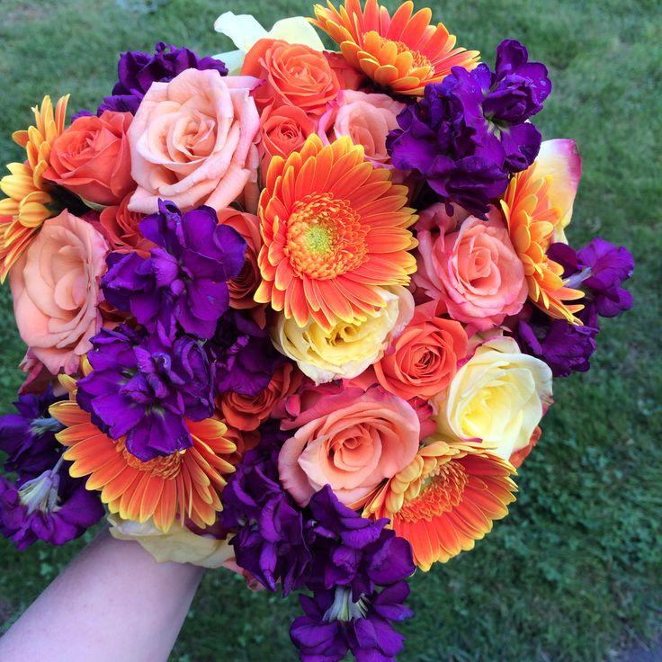 Plum purple and orange wedding flowers for a fall wedding
