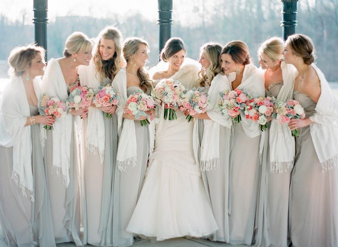 Neutral Blush And Beige Bridesmaid Wedding Dresses With