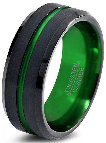 Tungsten Wedding Band Ring 8mm For Men Women Green Black