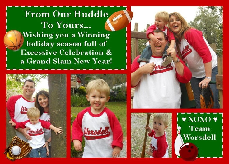 Christmas Card 2011 Sports Themed With Matching Baseball