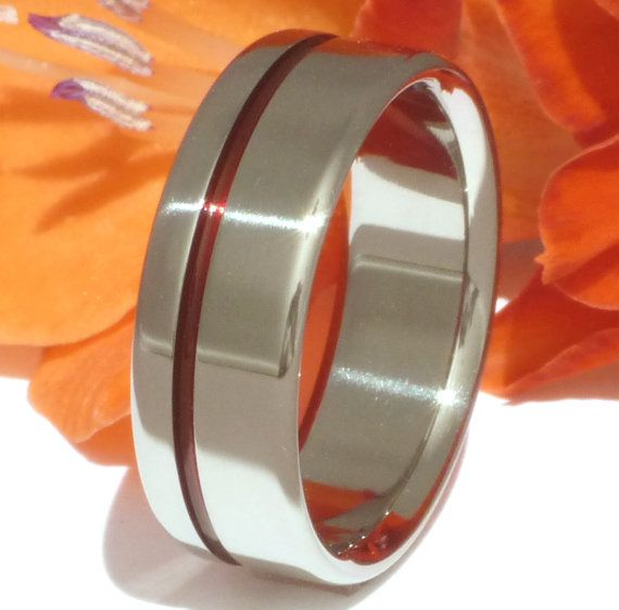 Thin Red Line Titanium Ring Firefighters Ring Red