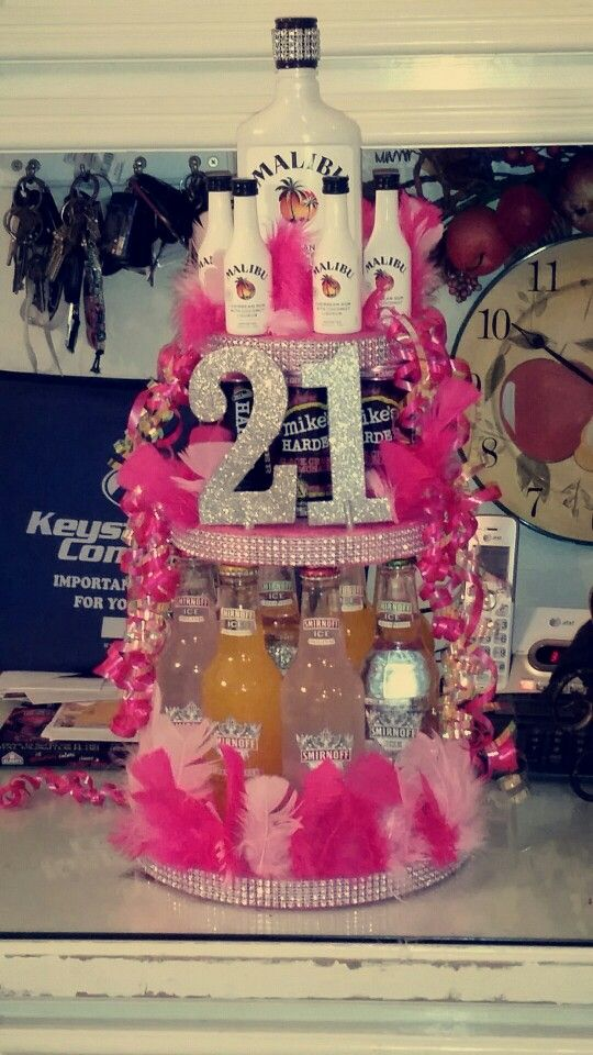 21st Birthday Alcohol Cake Girly Stuff Pinterest