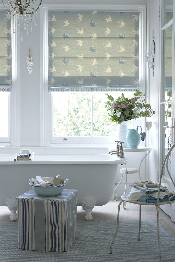 Roman Blind In Swallow Dive Duck Egg And Speedwell With