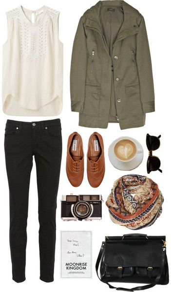 black skinnies+white sleeveless collar shirt+green cargo jacket+hipster shoes+pa
