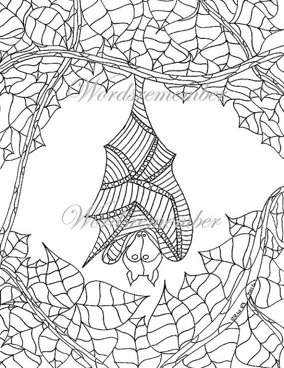 Adult Coloring Page, Fruit Bat Art, Printable Coloring