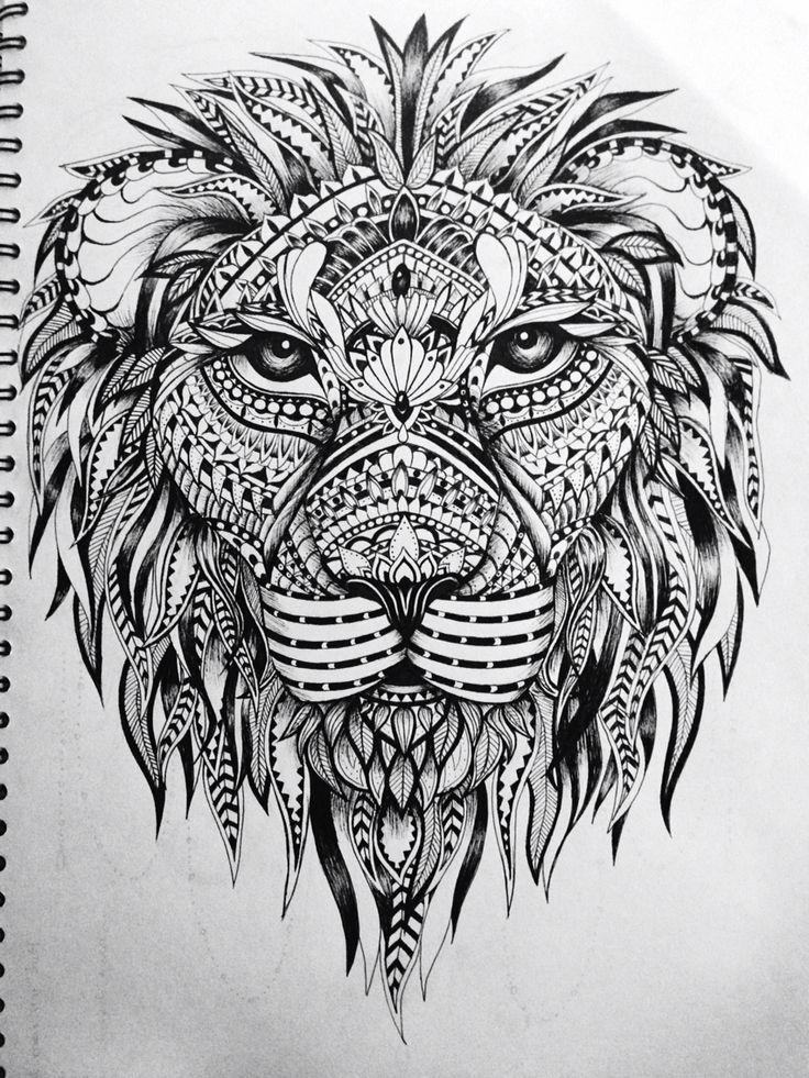 Lion zentangle Recruitment School Spirit Pinterest