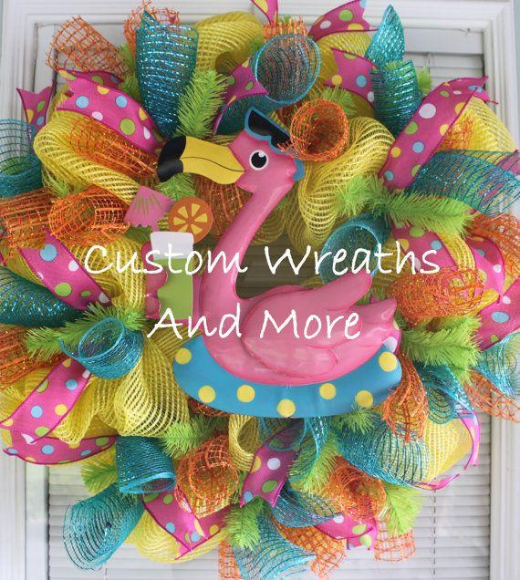 1000 Images About Flamingo Wreaths On Pinterest Luau