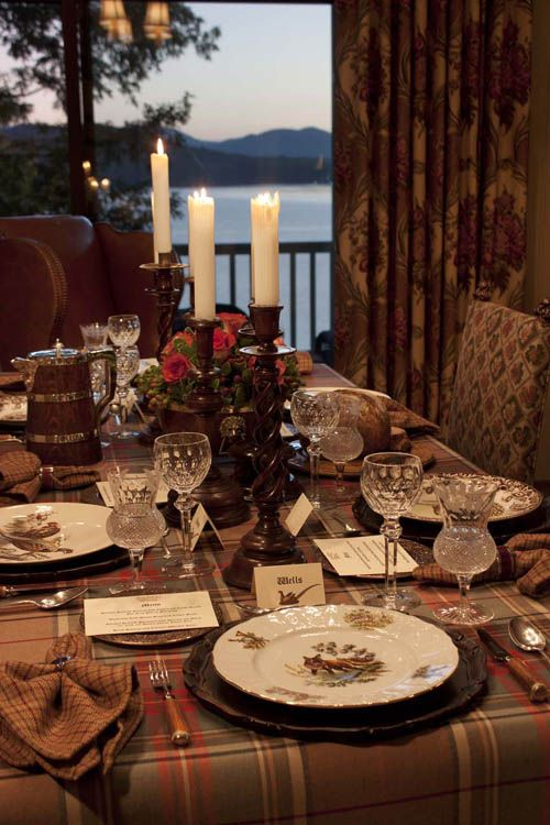 Home decor: table top inspiration for fall entertaining with muted tartan tablecloth bernadotte wildlife china and autumn hues: