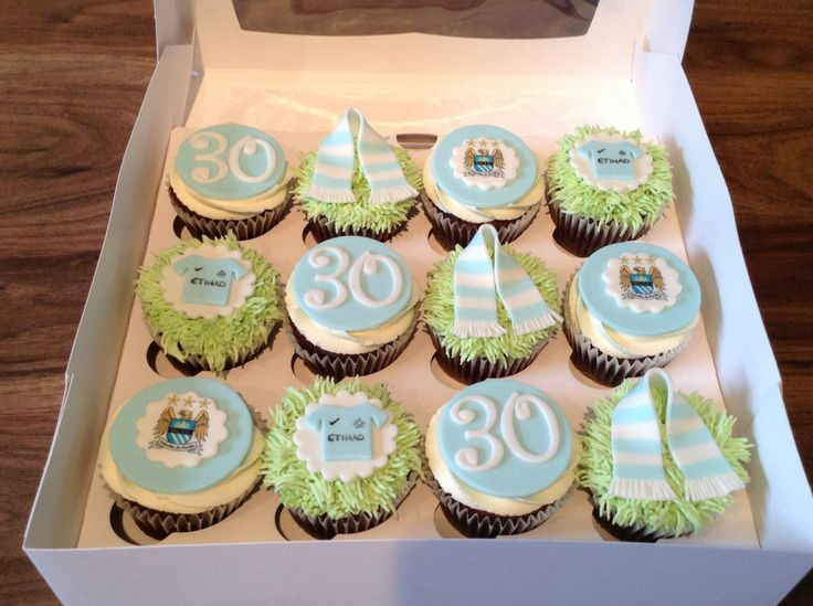 Manchester City Themed Cupcakes Grass Color