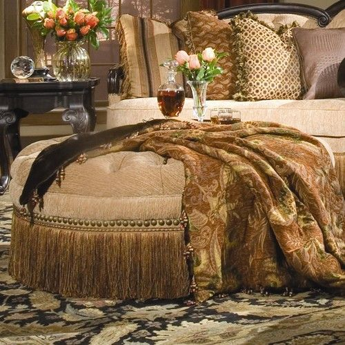 Round Tufted Ottoman With Fringe Home Gt Living Room