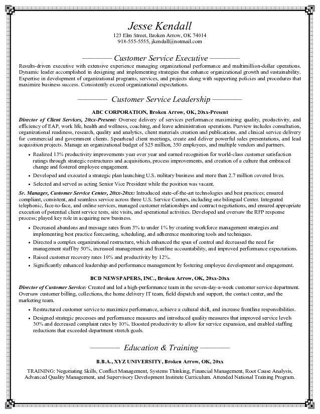 Customer Service Resume Objective http//topresume.info