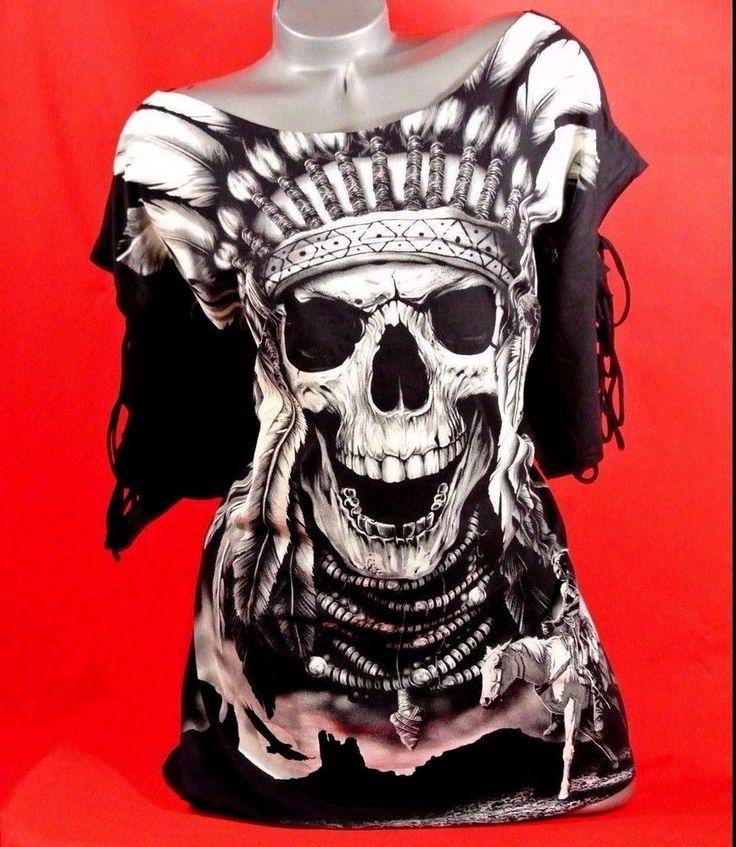 3X Skull Indian Tattoo RazorSlashedTShirt PlusSize