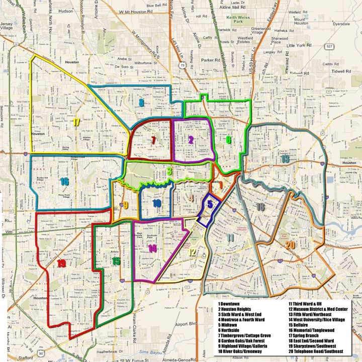 Houston Arts and Media Projects Neighborhoods Map