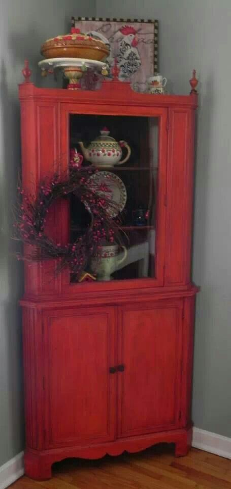Vintage Red Corner Hutch 225 Geckos Hyde Pinterest Vintage Corner Hutch And Red